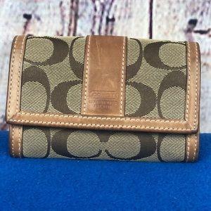 Coach signature print tan wallet